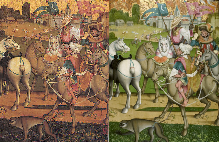 Side-by-side of the painting before and after its restoration