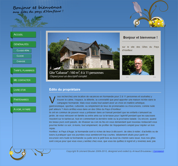 A screenshot of the website homepage
